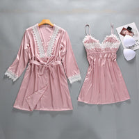 Sexy Lady Lace 2PCS Sleepwear Burgundy Women Rayon Robe Set Summer Nightgown Intimate Nightclothes Kimono Bathrobe Gown