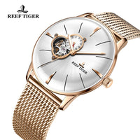 Reef Tiger/RT 2019 Luxury Brand Men Watch Automatic Mechanical Watches Rose Gold Bracelet Waterproof Watch RGA8239