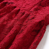 Solid Wine Red Woman Lace Dress Full Sleeve A-Line Party Dresses Women Hollow-Out Female Elegant Dress Laces Midi Dress Cheap
