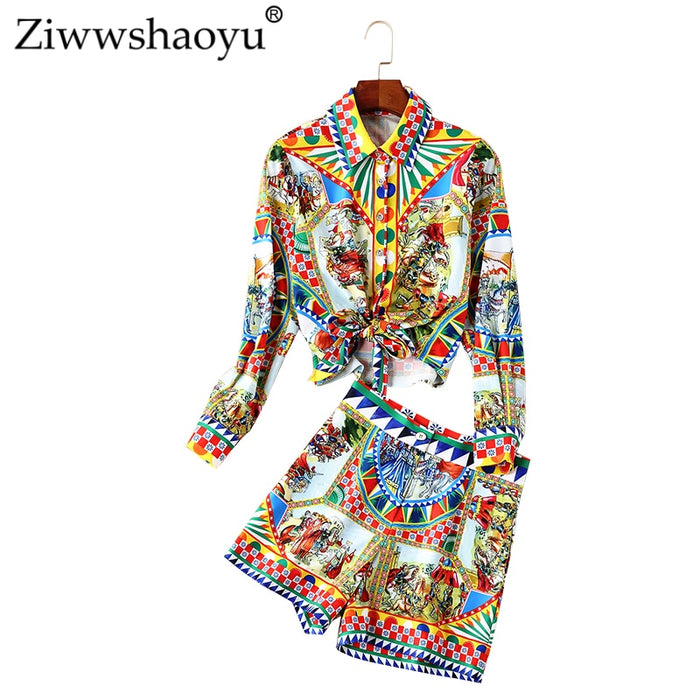 Ziwwshaoyu Vintage Print Two-piece set Turn-down Collar Sashes 2019 spring and summer S