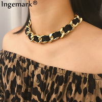 Ingemark Punk Aluminium Chain Choker Necklace Statement Vintage Clavicle Winding Necklace Statement Collier for Women Jewelry