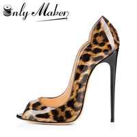 Onlymaker Women's Sandals Pumps Shoes 12cm Thin High Heels Stilettos Peep Toe Slip On Sandals Patent Leather Shoes Plus Size 15