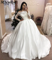 Mbcullyd Custom Made Sweep Train Wedding Dresses 2019 Ball Gown Long Sleeves robe de soiree Long robe de mariage Wedding dresses