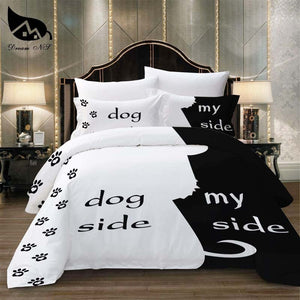 Dream NS Simple Black + White Bedding Set Cat/Dog/He and her Couple Bedclothes Pillowcase Customized Home Textiles Bed Set