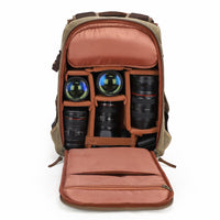 Waterproof Batik Canvas Camera Photo Bag Large Capacity Outdoor Photography Backpack Digital Padded SLR Bag with Tripod Holder