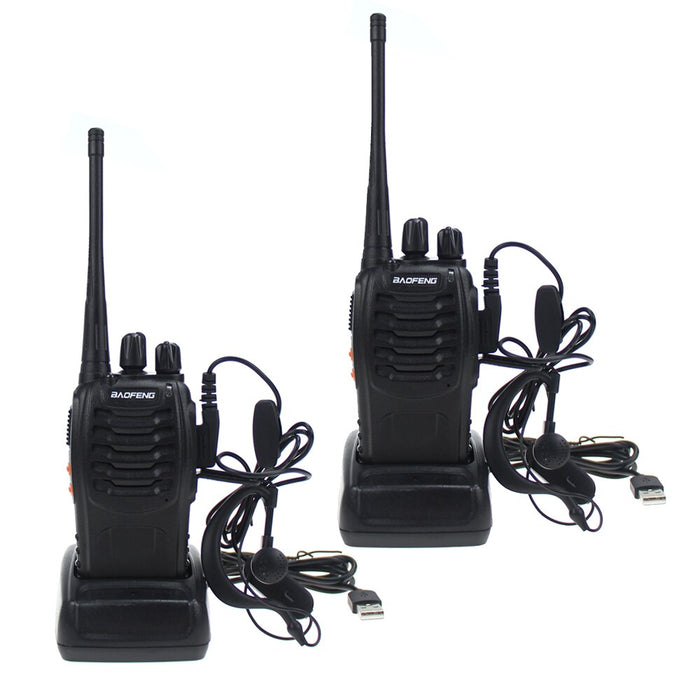 BaoFeng BF-888S Two Way Radio with Earpiece Long Range Rechargeable Walkie Talkie Built