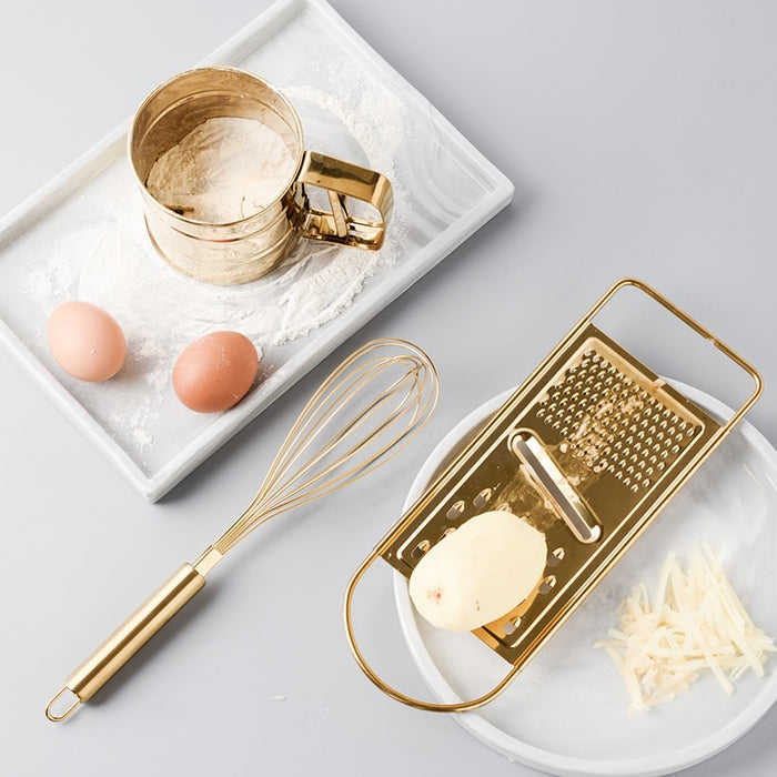 Originality Kitchen Baking Tool Suit Golden Stainless Steel Whisk Screening Cup Of Scraper