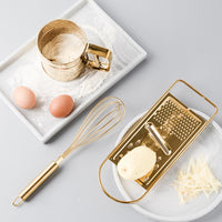 Originality Kitchen Baking Tool Suit Golden Stainless Steel Whisk Screening Cup Of Scraper Egg Powder Mixer Stirring Rotary 1pc