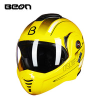 Beon Motorcycle Cool Dual 180 Degrees Flip up Helmet Winter Moto Personality ATV Motocross Helmets Men Women Motorbike Helmets