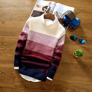 Spring Autumn Men's Jacket Coat Fashion Wool Striped  O-Neck Slim Fit Sweater Pullovers