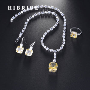 HIBRIDE New Design Brilliant Earring Ring Necklace Jewelry Set For Women Bridal Wedding Accessories Wholesale N-712