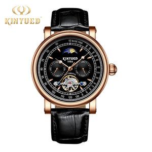 KINYUED Skeleton Mechanical Watches Automatic Self-Wind Top Brand Mens Wristwatches Luxury Moon Watch Men masculino automatic
