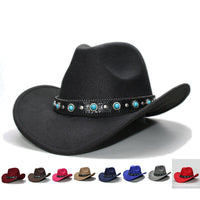 Retro Women Men 100% Wool Wide Brim Cowboy Western Cowgirl Bowler Hat Fedora Cap Turquoise Bead Vintage Leather Band 57cm/Adjust