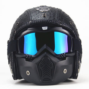 PU Leather Helmet 3/4 Motorcycle Chopper Bicycle Helmet Exposed Vintage Motorcycle Helmet and Goggles Mask