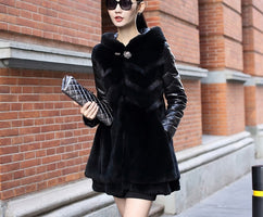 Fashion !!! The New Nice Pop Tide  Winter Clothing Leather Fur Coats Hooded Rabbit Hair Female Long Fur Coat