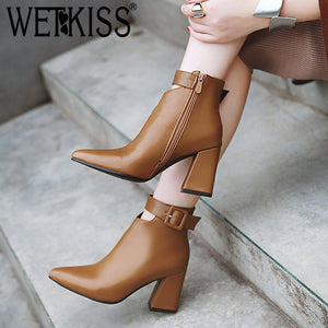 WETKISS Ankle Strap High Heels Women Boots Pointed Toe Footwear Zip Female Booties Pu Shoes Woman Winter 2020 Plus Size 34-46