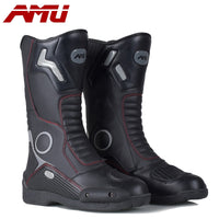 AMU Motorcycle Boots Leather Waterproof Botte Moto Motorbike Boot Biker Protector Shoes