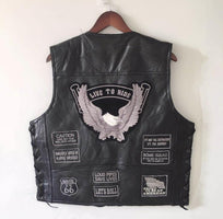 BONJEAN Mens Eagle Patch Black Genuine leather Motorcycle Vest + Lacing US Flag MC Sheepskin Sleeveless Biker Jackets Gray Patch