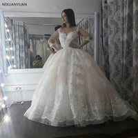 2019 Lace Applique Ball Gown Wedding Dresses with 3/4 Sleeves Sweep Train Custom Made Plus Size Wedding Gown Bridal Gowns