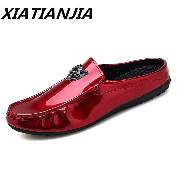 Men's Sneakers Summer Bright Patent Genuine Leather Half Drag Men Shoes Loafers Men's