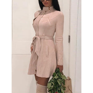 Faux suede leather dress 2019 Autumn fashion women suede leather dress with belt Vintage a line party dresses high waist vestido