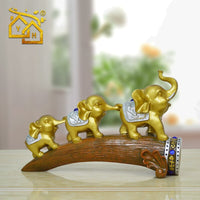 Home Decoration Accessories for Living Room Elephants Family on the Trunck Figurines Housewarming Gift  Vintage Home Decor