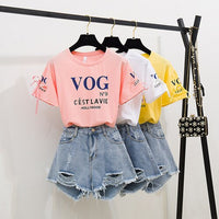 2019 Summer Short SlLetter Printed Tshirt+Hole Washed Short Jeans 2 Piece Set Casual T-shirt Suit For Youth Woman Vogue Stylish