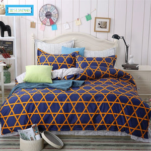 BEST.WENSD Family Bed Linens 100%Cotton High Quality Plaid Style Simple Style Bedding Set For 1 or 2 Person Duvet Cover