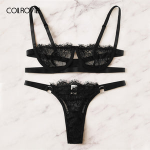 COLROVIE Black Floral Lace Lingerie Set Women Intimates 2019 Summer Bra And Panty Sexy Sets Female Solid Briefs Underwear Set