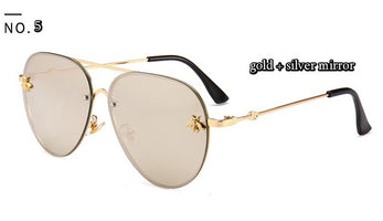46023 Luxury Bee Pilot Sunglasses Women Fashion Shades Metal Frame Vintage Glasses