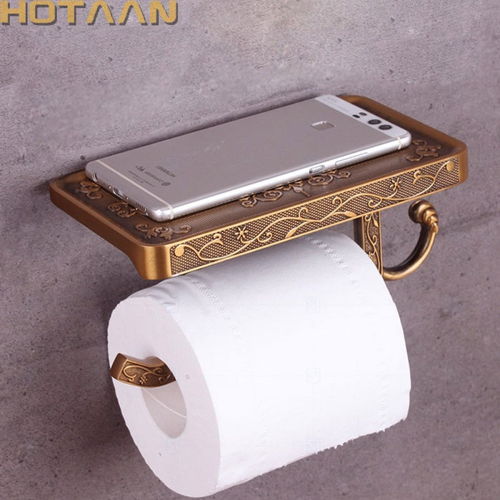Antique Brass Toilet Paper Holder Bathroom Mobile Holder Toilet Tssue Paper Roll Holder
