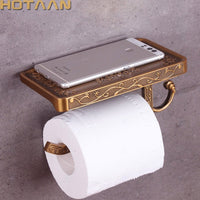 Antique Brass Toilet Paper Holder Bathroom Mobile Holder Toilet Tssue Paper Roll Holder Bathroom Storage Rack Accessory YT-1492B
