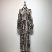 Vintage Snake Print Sashes Long Shirt Dress Women High Waist Lace Up Dress Animal Pattern Ankle Length Dresses Casual Vestidos