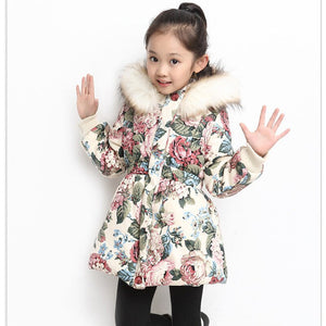 2018 Children Winter Jacket Girl floral printed Winter Coat Kids Warm Thick Fur Collar Hooded long down Coats For Teenage 4Y-14Y
