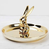 Ceramic Rabbit Jewelry Plate Decoration Ornament Storage Tray Home Accessories