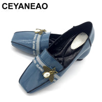 CEYANEAO  2019elegant women's casual loafer blue with bees spring-fall season female thin shoes without  buckle with square toe