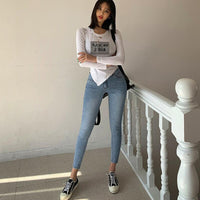 Skinny Denim Jeans for Women High Waist Ripped Holes Female Pencil Jeans 2019 Streetwear Women Denim Blue Trousers