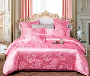 Liv-Esthete New Luxury Bedding Set Euro Jacquard Pink Double Adult Bedspread Flat Sheet Decorative Home Textiles Bed Linen Set
