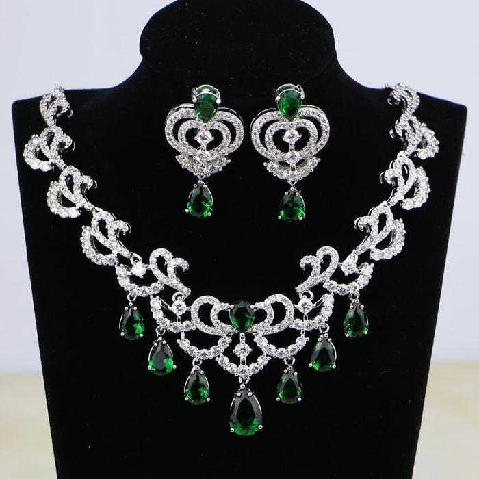 925 Silver Color Bridal Jewelry Water Drop Green Cubic Zirconia White Crystal For Women