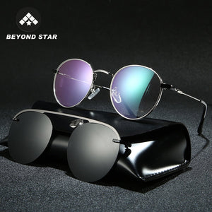 BEYONDSTAR New Polarized Steampunk Round Magnet Clip On Sun Glasses Transparent Driving Double Sunglasses Men 2019 Oculos G2062