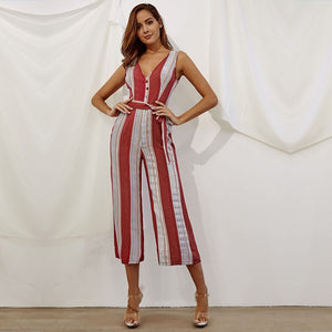 yinlinhe Red Striped Jumpsuit Women Rompers Wide Leg V Neck Button Elegant High Waist Boho Summer Loose Overalls Women 872