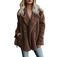 Thick Warm Teddy Coat Woman Lapel Long Sleeve Fluffy Hairy Fake Fur Jackets Female Button Pocket