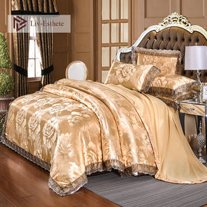 Liv-Esthete European Luxury Gold Satin Jacquard Bedding Set Lace Side Duvet Cover Flat Sheet Queen King Bed Linen For Adult