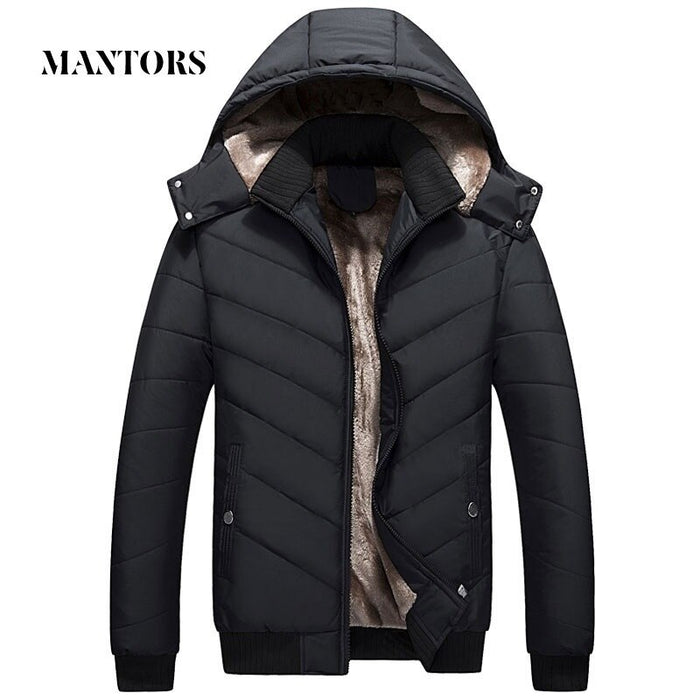 Winter Men Jacket Parka Warm Fleece Casual Hooded Coat Mens Cotton Slim Thick Down