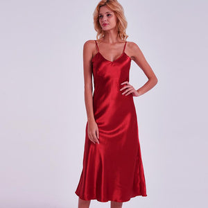 Slim Long Nightgown Spaghetti Strap Sleeveless Satin Home Dress Solid Rayon Sleepwear Fashion