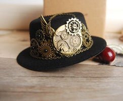 Mini Steampunk Victorian Top Hat and Gears Cogs Chains Hats Hair Clip Costume Accessory For Men Women