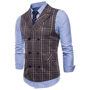 Suit Vest Men 2019 Sleeveless Double Breasted Waistcoat Slim Fit Tweed Gilet Men Business Wedding Classic Blazer Plus Size 4XL