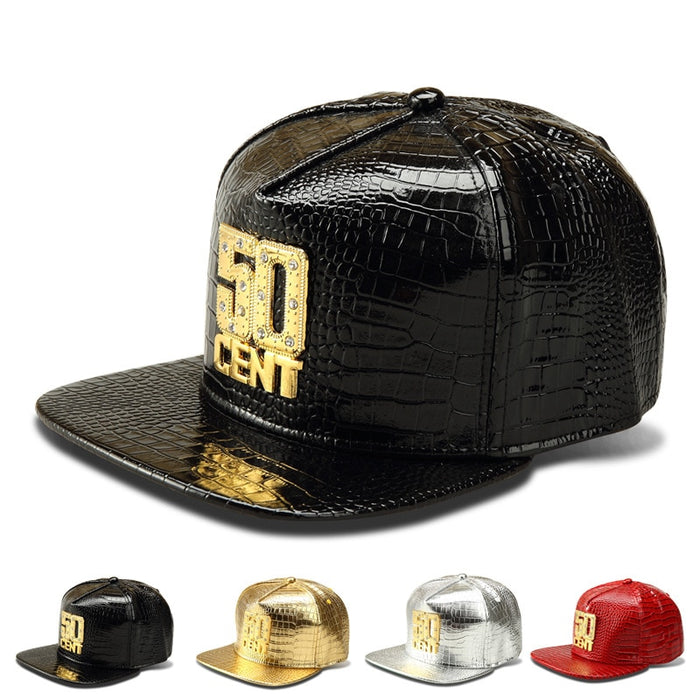 Leather Cap Snapback Hats Wholesale Bling Iced Out Gold 50 CENT Baseball Hat Hip Hop