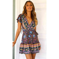 JH Sleeve Floral Print Ethnic Summer Beach Female Split Stylish Style women dress Sleeveless V-Neck Spaghetti Strap Beach dress