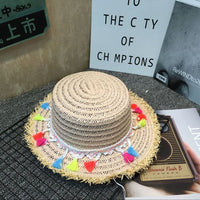 10pcs //summer Color tassel straw handwork knittin kids  hat children Outdoor leisure cap
